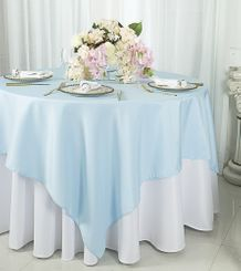 "54""x54"" Square Polyester Table Overlay Toppers  - Baby Blue 51420 (1pc/pk)"