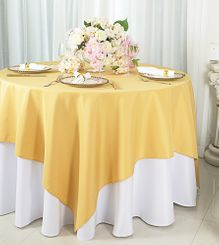"54""x54"" Square Polyester Table Overlay Toppers - Gold 51427 (1pc/pk)"