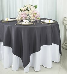 "54""x54"" Square Polyester Table Overlay Toppers - Pewter / Charcoal 51460 (1pc/pk)"