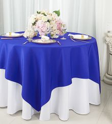 "54""x54"" Square Polyester Table Overlay Toppers - Royal Blue 51422 (1pc/pk)"