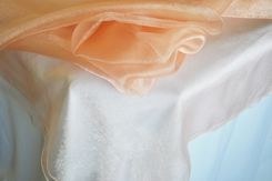 54x108 Rectangle Organza Seamless Table Overlay- Apricot / Peach 53931(1pc/pk)