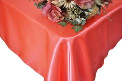 54x108 Rectangle Satin Table Overlay - Coral 50906 (1pc/pk)