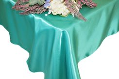 54x108 Rectangle Satin Tablecloth - Pool Blue 50978(1pc/pk)