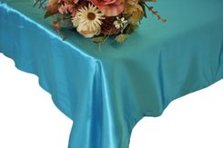 54x108 Rectangle Satin Tablecloth - Turquoise 50985(1pc/pk)