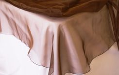 "54"" Square Organza Table Overlays - Chocolate 51991 (1pc/pk)"
