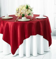 "54"" Square Satin Table Overlay - Apple Red 50808 (1pc/pk)"