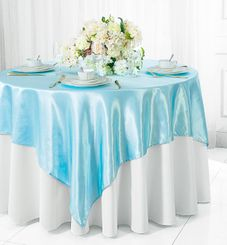 "54"" Square Satin Table Overlay - Baby Blue 50820 (1pc/pk)"