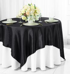 "54"" Square Satin Table Overlay - Black 50839 (1pc/pk)"