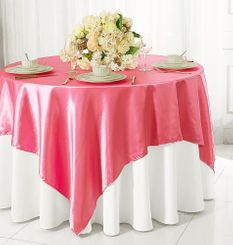 "54"" Square Satin Table Overlay - Bubble Gum 50835 (1pc/pk)"