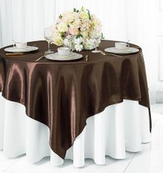 "54"" Square Satin Table Overlay - Chocolate 50891 (1pc/pk)"