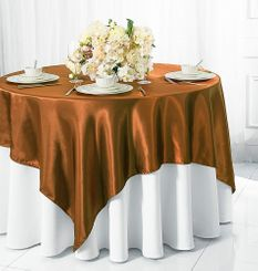 "54"" Square Satin Table Overlay - Copper 50841 (1pc/pk)"