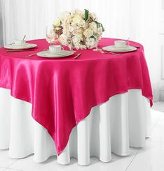 "54"" Square Satin Table Overlay - Fuchsia 50809 (1pc/pk)"