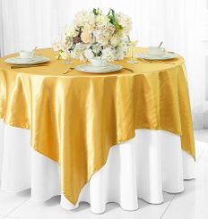 "54"" Square Satin Table Overlay - Gold 50827 (1pc/pk)"