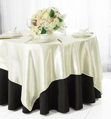 "54"" Square Satin Table Overlay - Ivory 50802 (1pc/pk)"