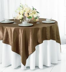 "54"" Square Satin Table Overlay - Latte 50868 (1pc/pk)"
