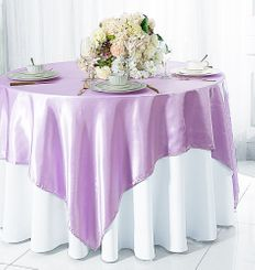 "54"" Square Satin Table Overlay - Lavender 50811 (1pc/pk)"