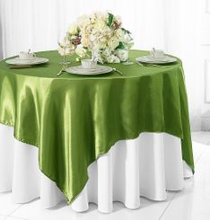 "54"" Square Satin Table Overlay - Moss Green 50817 (1pc/pk)"