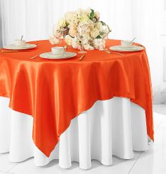 "54"" Square Satin Table Overlay - Orange 50833 (1pc/pk)"