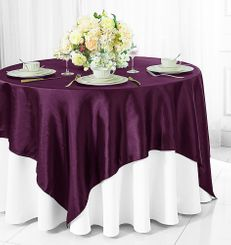 "54"" Square Satin Table Overlay - Plum 50865 (1pc/pk)"
