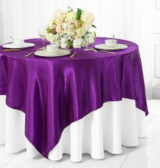 "54"" Square Satin Table Overlay - Purple 50843 (1pc/pk)"
