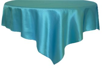 """54"""" Square Satin Table Overlay - Turquoise 50885 (1pc/pk)"""