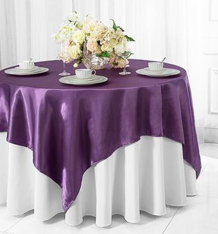 "54"" x 54"" Square Satin Table Overlays - 57 colors"