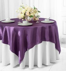 "54"" x 54"" Square Satin Table Overlays - 56 colors"