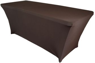6 Ft Rectangular Spandex Table Cover - Chocolate 64191 (1pc/pk)