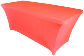 6 Ft Rectangular Spandex Table Cover - Coral 64106 (1pc/pk)