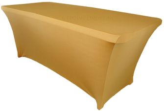 6 Ft Rectangular Spandex Table Cover - Gold 64127 (1pc/pk)