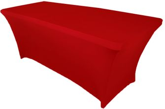 6 Ft Rectangular Spandex Table Cover - Red 64112 (1pc/pk)