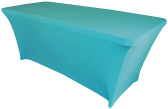 6 Ft Rectangular Spandex Table Cover - Turquoise 64185 (1pc/pk)
