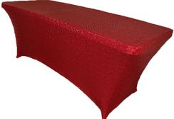6 Ft Sequin Rectangular Spandex Table Cover - Apple Red 00508 (1pc/pk)