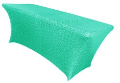 6 Ft Sequin Rectangular Spandex Table Cover - Tiff Blue / Aqua Blue 00518 (1pc/pk)