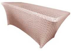 6 Ft Sequin Rectangular Spandex Table Cover - Blush Pink 00515 (1pc/pk)