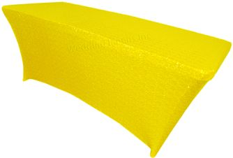 6 Ft Sequin Rectangular Spandex Table Cover - Canary Yellow 00516 (1pc/pk)