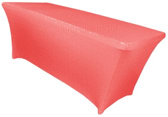 6 Ft Sequin Rectangular Spandex Table Cover - Coral 00506 (1pc/pk)