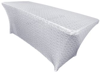 6 Ft Sequin Rectangular Spandex Table Cover - Platinum 00571 (1pc/pk)