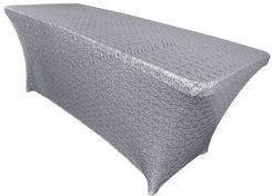 6 Ft Sequin Rectangular Spandex Table Cover - Sliver 00540 (1pc/pk)