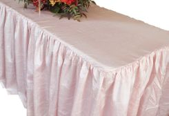 6' Rectangular Ruffled Fitted Crushed Taffeta Tablecloth With Skirt - Blush Pink 63415 (1pc/pk)