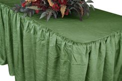 6' Rectangular Ruffled Fitted Crushed Taffeta Tablecloth With Skirt - Clover 63448 (1pc/pk)
