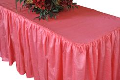 6' Rectangular Ruffled Fitted Crushed Taffeta Tablecloth With Skirt - Coral 63406 (1pc/pk)