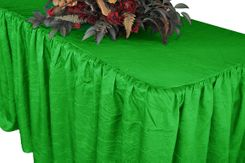 6' Rectangular Ruffled Fitted Crushed Taffeta Tablecloth With Skirt - Emerald Green 63438 (1pc/pk)
