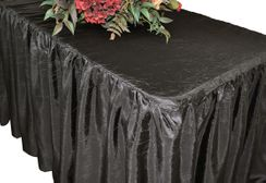 6' Rectangular Ruffled Fitted Crushed Taffeta Tablecloth With Skirt - Pewter 63460 (1pc/pk)