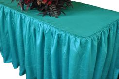 6' Rectangular Ruffled Fitted Crushed Taffeta Tablecloth With Skirt - Pool Blue 63478 (1pc/pk)