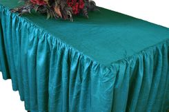 6' Rectangular Ruffled Fitted Crushed Taffeta Tablecloth With Skirt - Turquoise 63485 (1pc/pk)