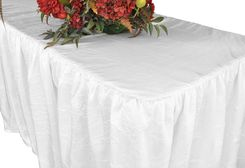 6' Rectangular Ruffled Fitted Crushed Taffeta Tablecloth With Skirt - White 63401 (1pc/pk)