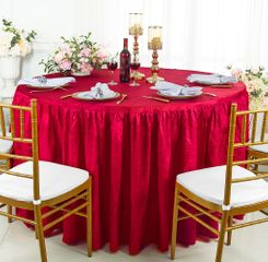 60� Round Ruffled Fitted Crushed Taffeta Tablecloth With Skirt - Apple Red 63608 (1pc/pk)