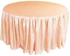60� Round Ruffled Fitted Crush Taffeta Tablecloth With Skirt - Apricot/Peach 63631 (1pc/pk)
