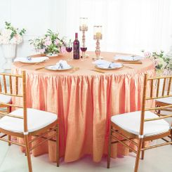 60� Round Ruffled Fitted Crushed Taffeta Tablecloth With Skirt - Apricot/Peach 63631 (1pc/pk)